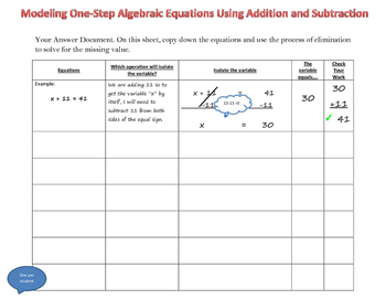 Modeling Balancing Equations - One Step
