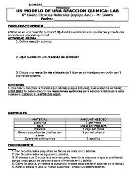 Modeling Chemical Reactions Lab (DUAL LANGUAGE SPANISH)