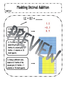 Modeling Decimal Addition Interactive Notes