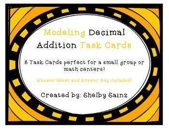 Modeling Decimal Addition Task Cards FREEBIE