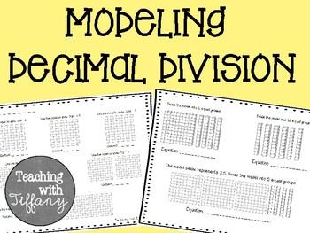 Modeling Decimal Division Printable FREEBIE (TEKS 5.3F)