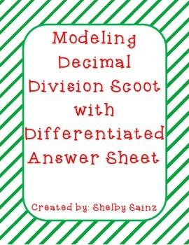 Modeling Decimal Division Task Cards FREEBIE