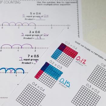 Modeling Decimal Multiplication Guided Practice Printables TEKS 5.3D