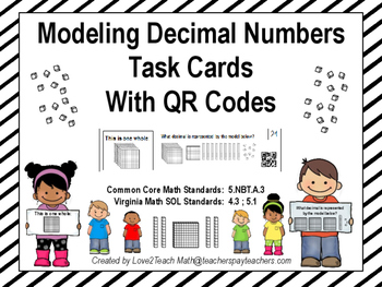 Modeling Decimal Numbers Task Cards with QR Codes