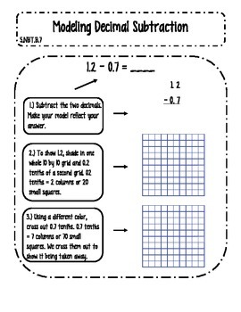 Modeling Decimal Subtraction Interactive Notes