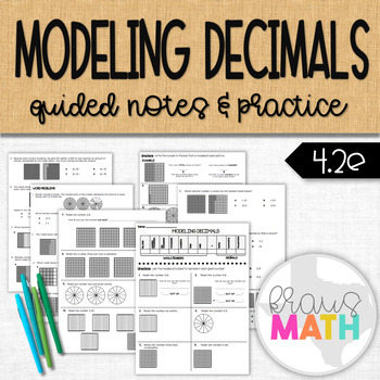 Modeling Decimals: Guided Practice BUNDLE! (4.2E & 4.NF.C.7)