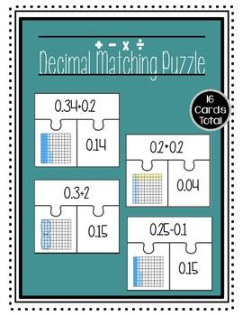 Modeling Decimals Matching Puzzle