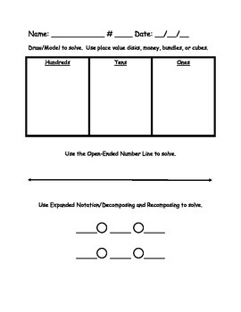 Modeling Drawing / Open Ended Number Line / Decomposing Recomposing