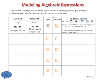 Modeling Equivalent Expressions
