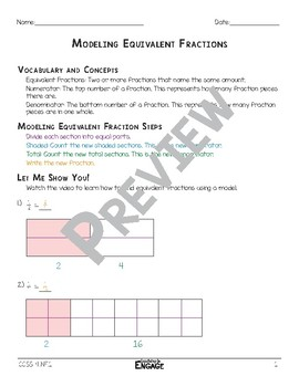 Modeling Equivalent Fractions Math Video and Worksheet