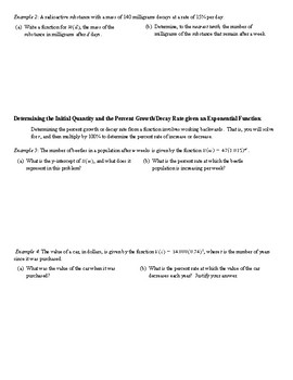 Modeling Exponential Functions - Percent Growth and Decay (Answer Key Included)