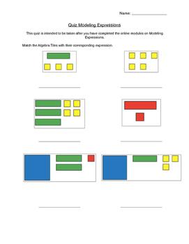 Modeling Expressions Using Algebra Tiles Assessment