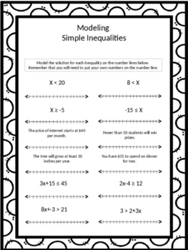 Modeling Inequalities Homework