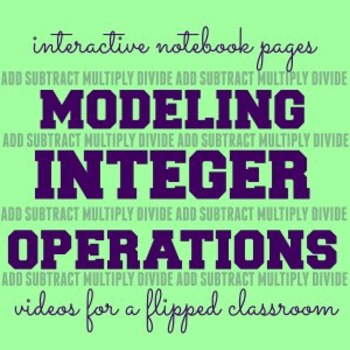 Modeling Integer Operations Interactive Notebook Pages & Instructional Videos