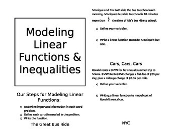 Modeling Linear Functions and Inequalities Book