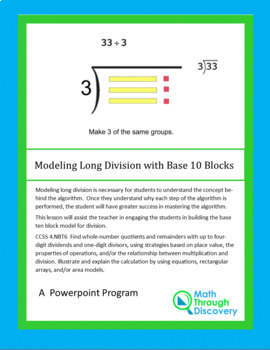 Modeling Long Division with Base 10 Blocks - PPT