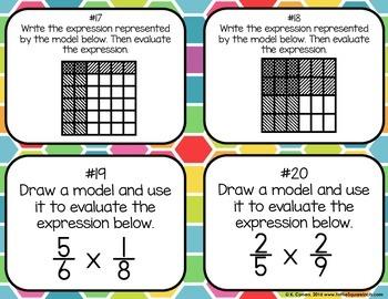 Modeling Multiplying Fractions Task Cards