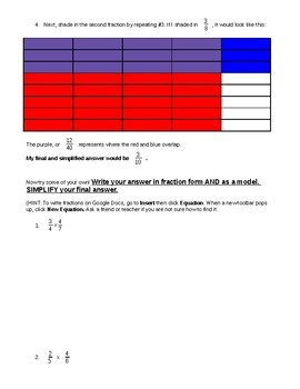 Modeling Multiplying Fractions on Google Docs CCSS 5.NF.B.4a