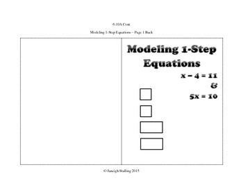 Modeling One-Step Equations and Inequalities INB TEKS 6.10A
