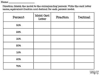 Modeling Percentages Matching Activity TEKS 6.4E