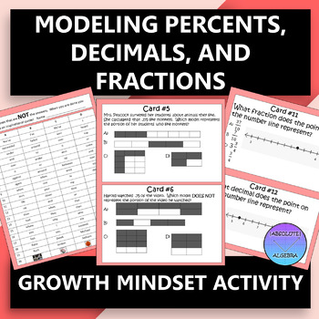 Modeling Percents, Decimals, and Fractions Growth Mindset Activity