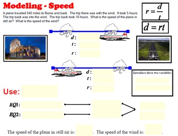 Modeling Speed Problems - System of Equations in 2 Var
