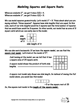 Modeling Squares and Square Roots Notes