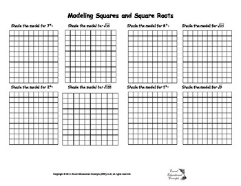 Modeling Squares and Square Roots Worksheet