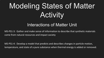 Modeling States of Matter Activity, Interactions of Matter Unit