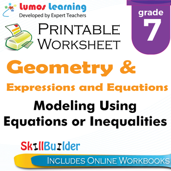 Modeling Using Equations or Inequalities Printable Worksheet, Grade 7