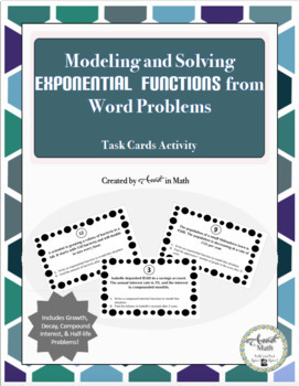 Modeling and Solving Exponential Functions Task Cards Activity