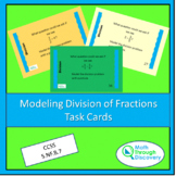 Modeling the Division of Fractions Task Cards - Colored Backgrounds