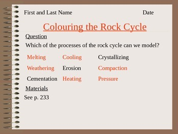 Modeling the Rock Cycle with Crayons Answers Lesson 17