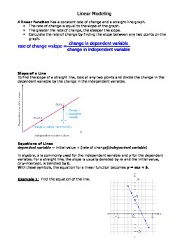 Modeling with Linear Functions
