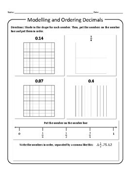 Modelling and Ordering Decimals and Fractions on a Number Line - Shade and Order