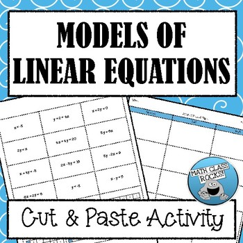 MODELS OF LINEAR EQUATIONS - MATCHING ACTIVITY