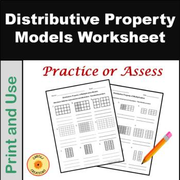 Models of the Distributive Property of Multiplication Worksheet