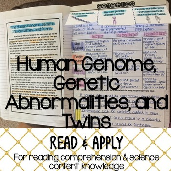 Moden Genetics Reading Comprehension Interactive Notebook
