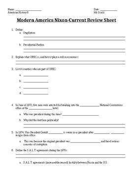 Modern America Nixon-Current Review Sheet