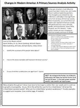 Modern America Primary Source Analysis Activity Homework