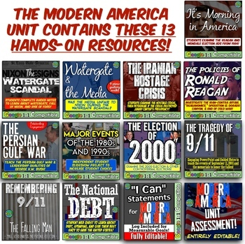 Modern America Unit: Watergate, Iranian Hostage, Reagan, Persian Gulf War, 9/11!