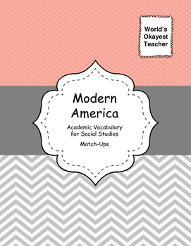 Modern America Vocabulary for Social Studies