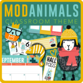 Modern Animal and Color Classroom Theme Set - Editable