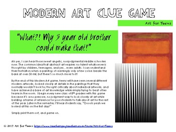 Modern Art Clue Game