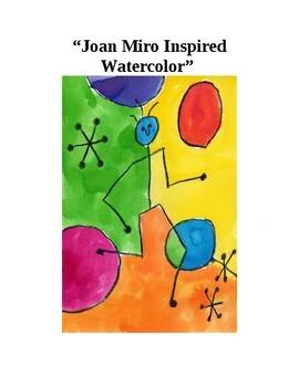 "Modern Art Vibrant Stick & Ball Construction ""Miro"" Watercolor"