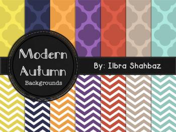 Modern Autumn Digital Paper Backgrounds