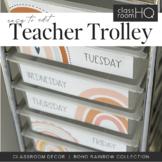 Modern BOHO RAINBOW Rolling Cart Trolley Labels