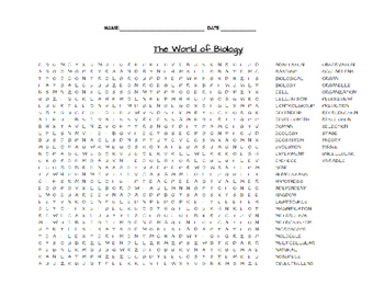 Biology Word Search Puzzles Part 1