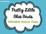 Modern Blue Bird Name Tags (Editable)
