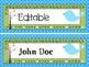 Modern Blue Bird Name Tags (Editable)
